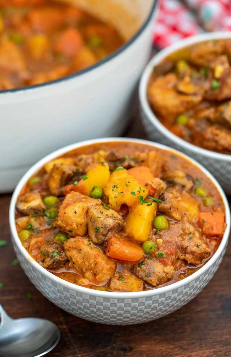 Pork stew in white bowl