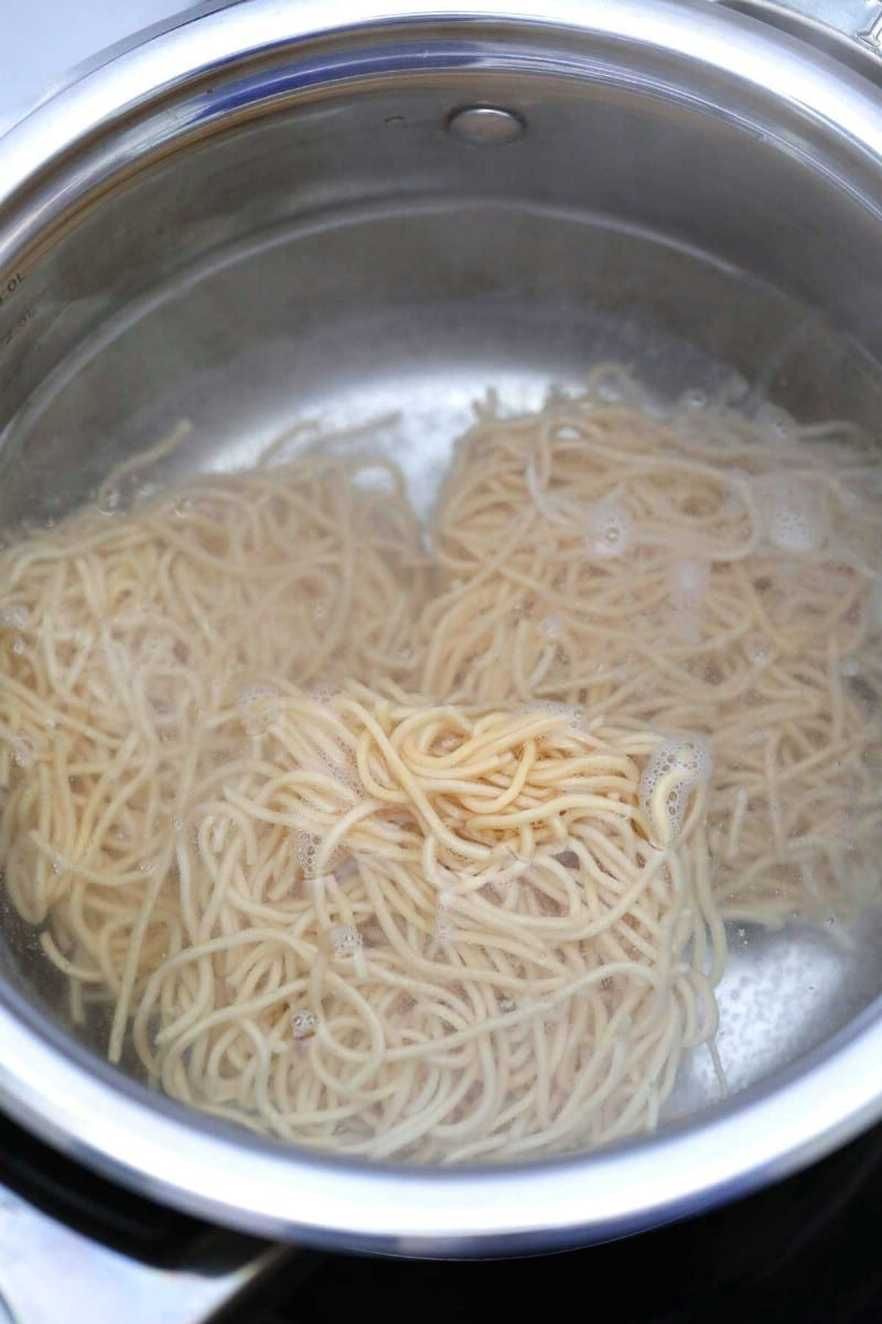 Pot of noodles boiling