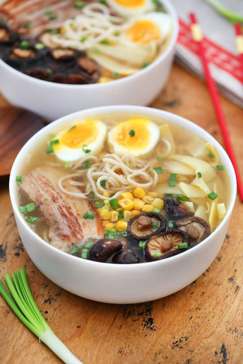 White bowl of tonkotsu pork ramen