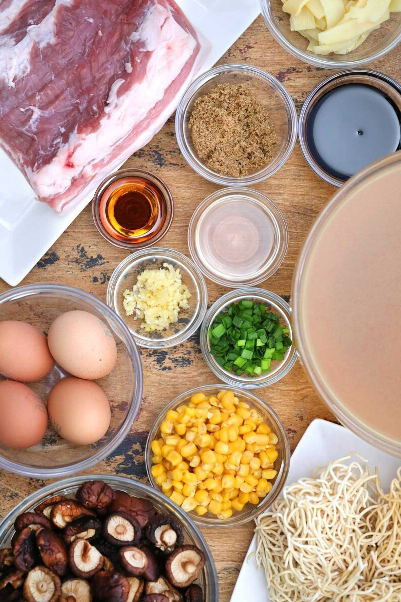 Ingredients for tonkotsu ramen