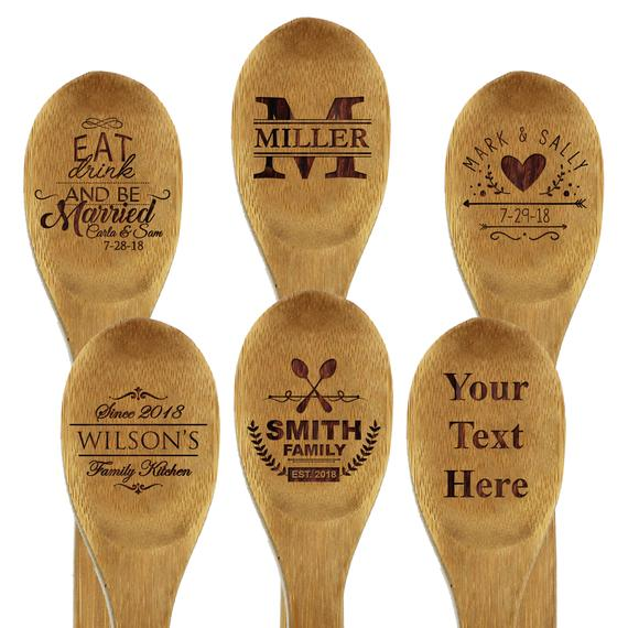 Wooden Spoons Personalized Engraved Bamboo Spoon Cooking | Etsy