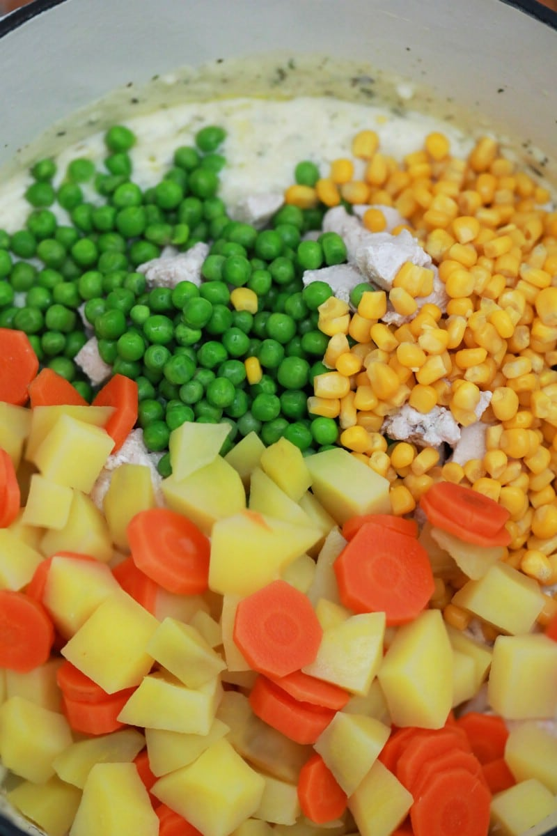 Vegetables in stockpot