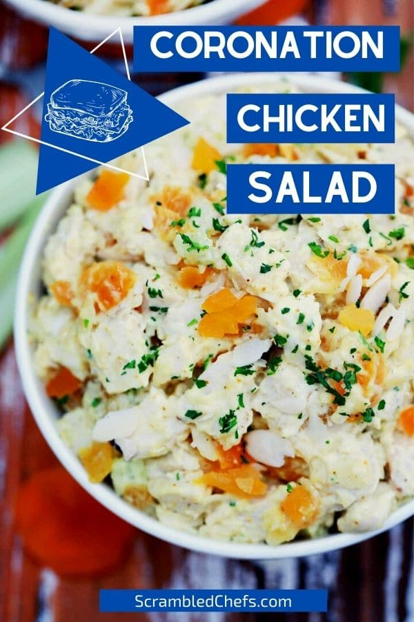 Large bowl of chicken salad with parsley
