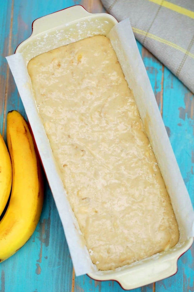 Banana bread batter in loaf pan