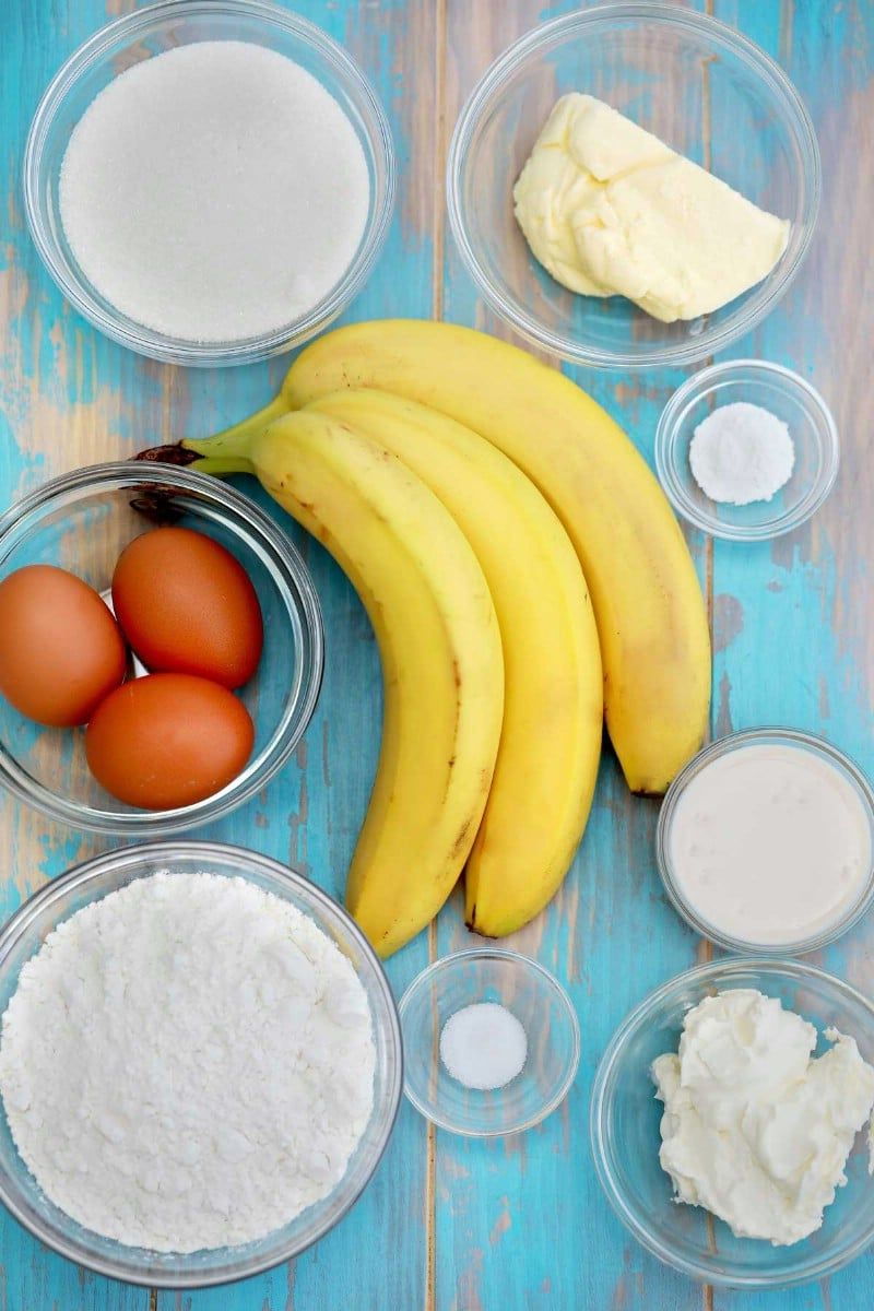 Ingredients for cheesecake banana bread
