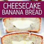 Cheesecake banana bread collage