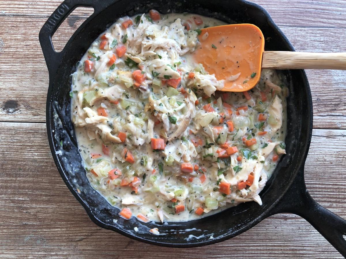 Stirring pot pie mixture