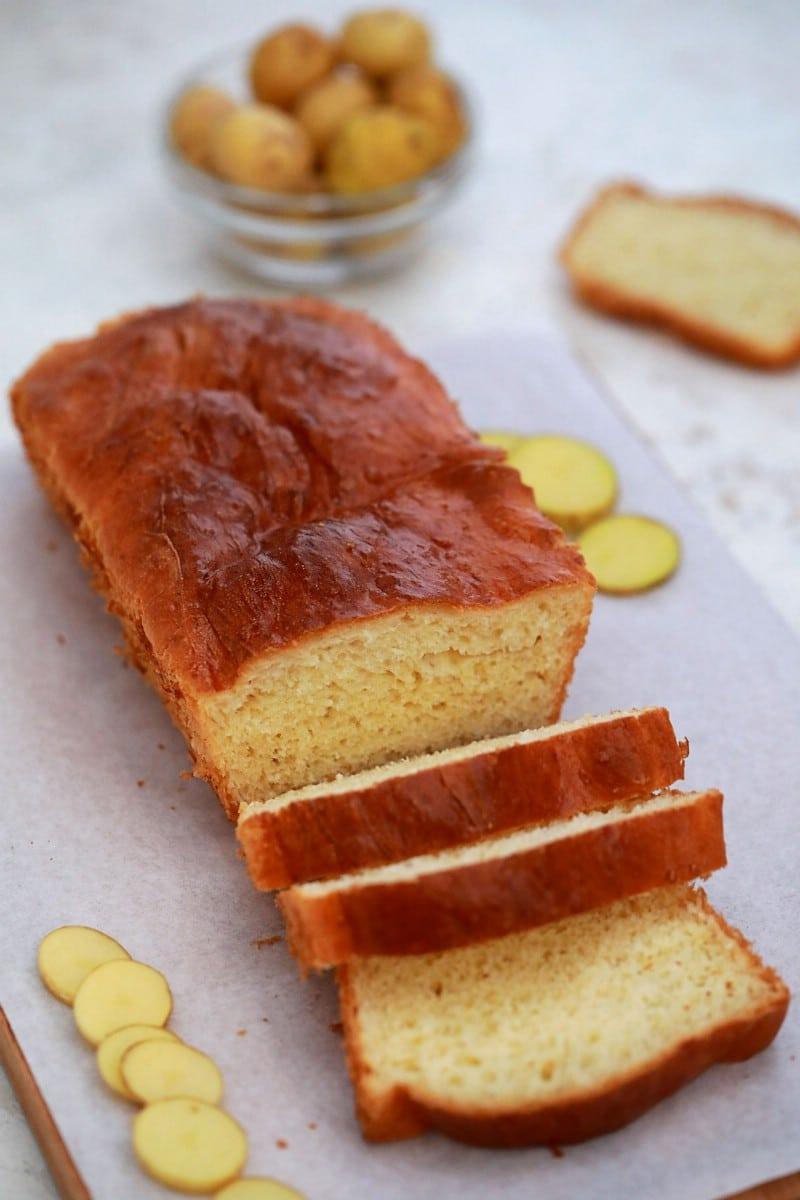 Sliced potato bread on stone