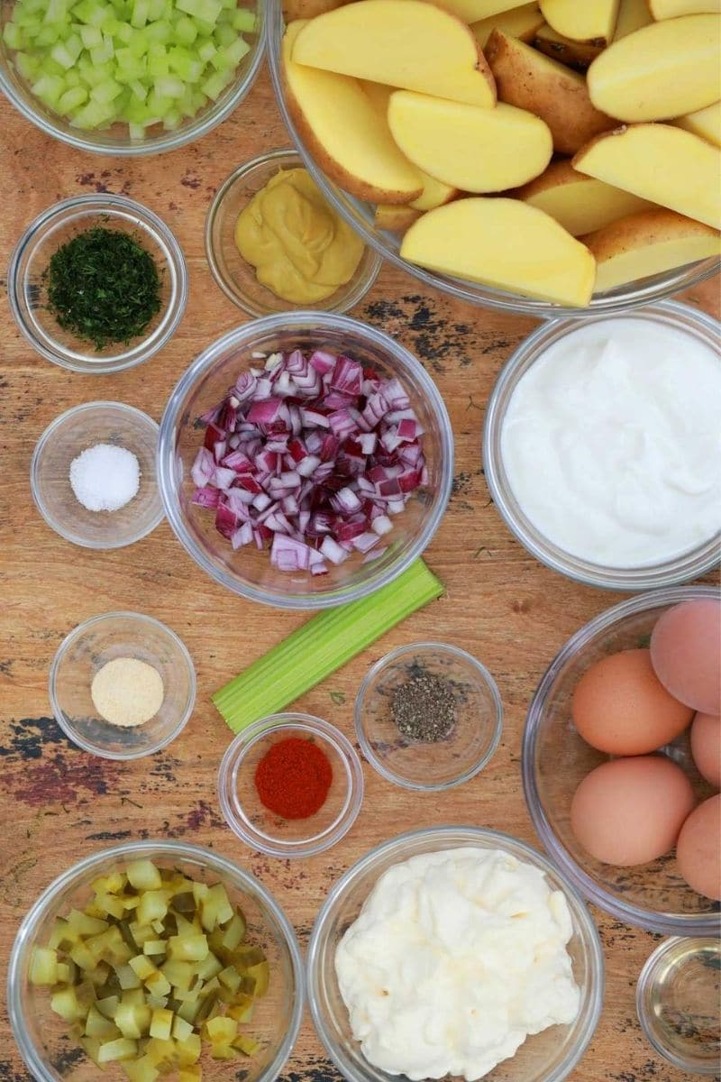 Ingredients for ptoato salad with mustard and eggs