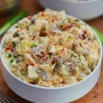 White bowl of potato salad