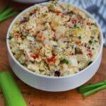 White bowl of potato salad