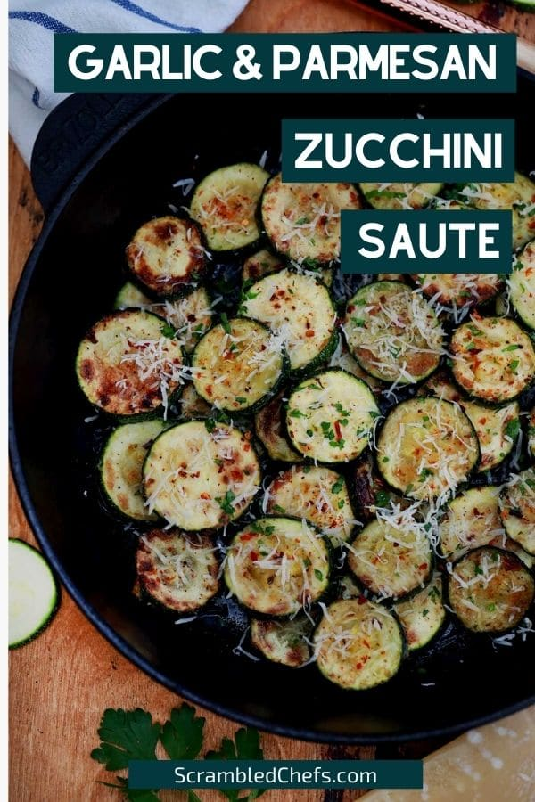 Zucchini in cast iron skillet