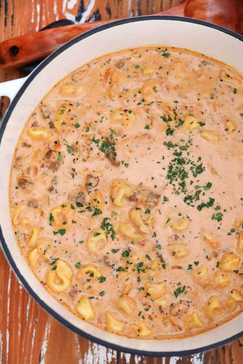Dutch oven of tortellini soup