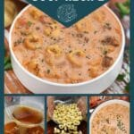 Tortellini and sausage soup collage