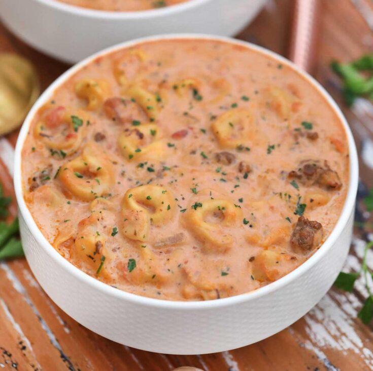 Tortellini soup in white bowl