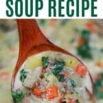 Wooden spoon of zuppa toscana soup