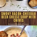 Bacon cheddar beer soup collage