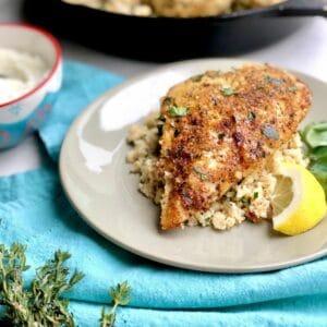 Garlic herb chicken on white plate