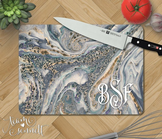Ocean Marble Personalized Glass Cutting Board Monogrammed | Etsy