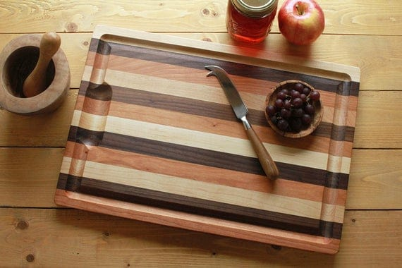 Striped Hardwood Cutting Board with Well and Groove Two | Etsy