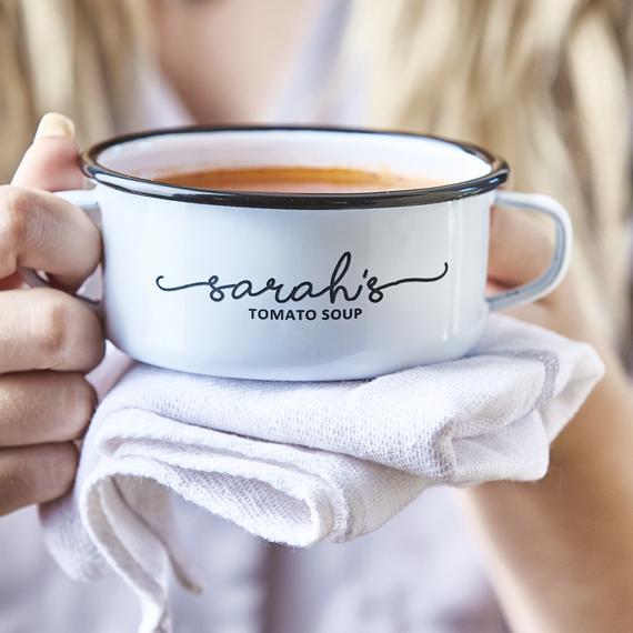 Personalised Enamel Soup Bowl | Etsy