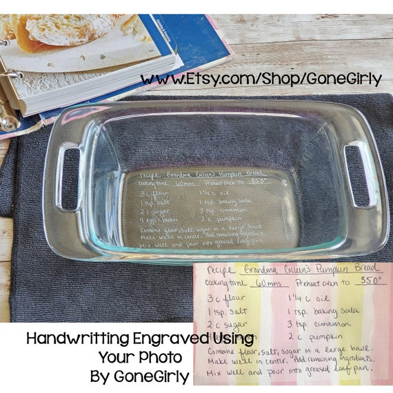 Transform Loaf HANDWRITTEN RECIPE into an engraved Bread Pan | Etsy