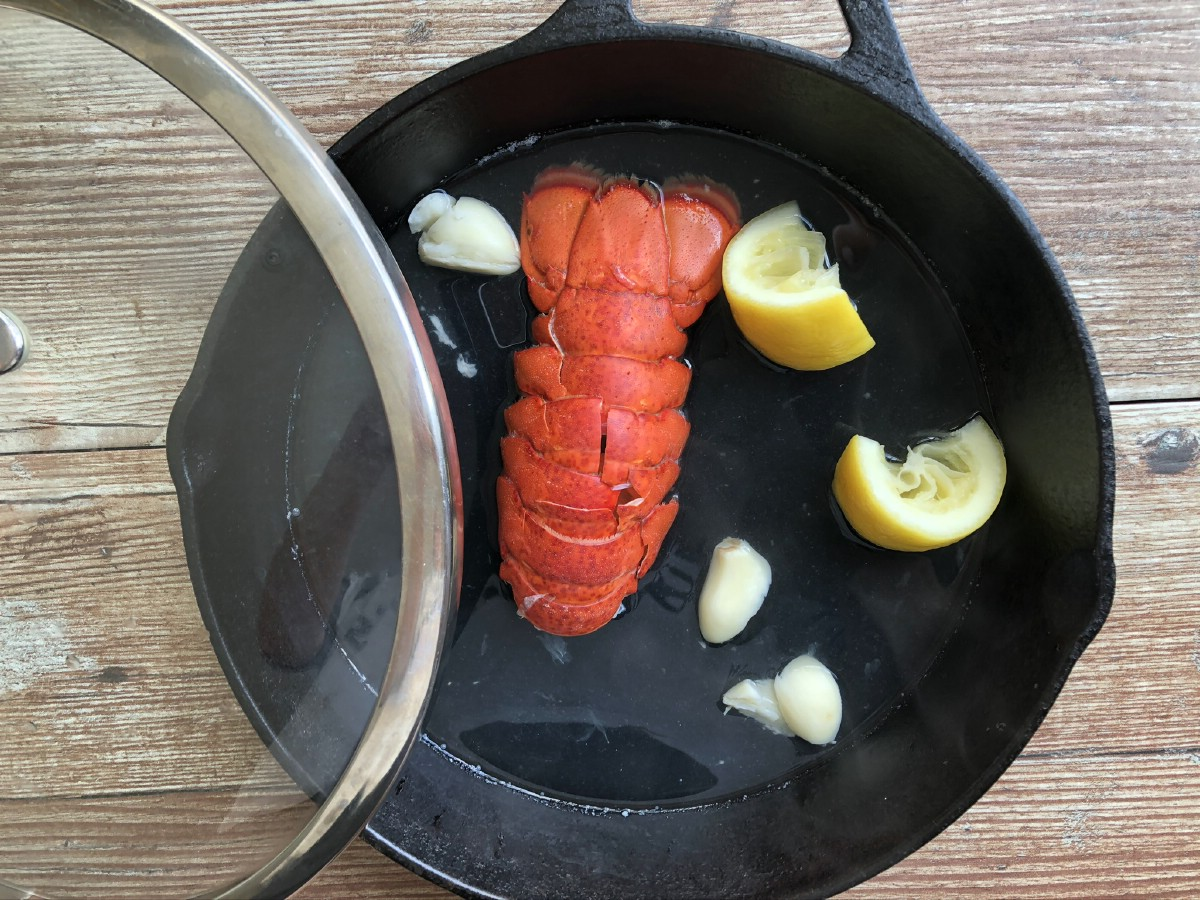 Cooked lobster in skillet