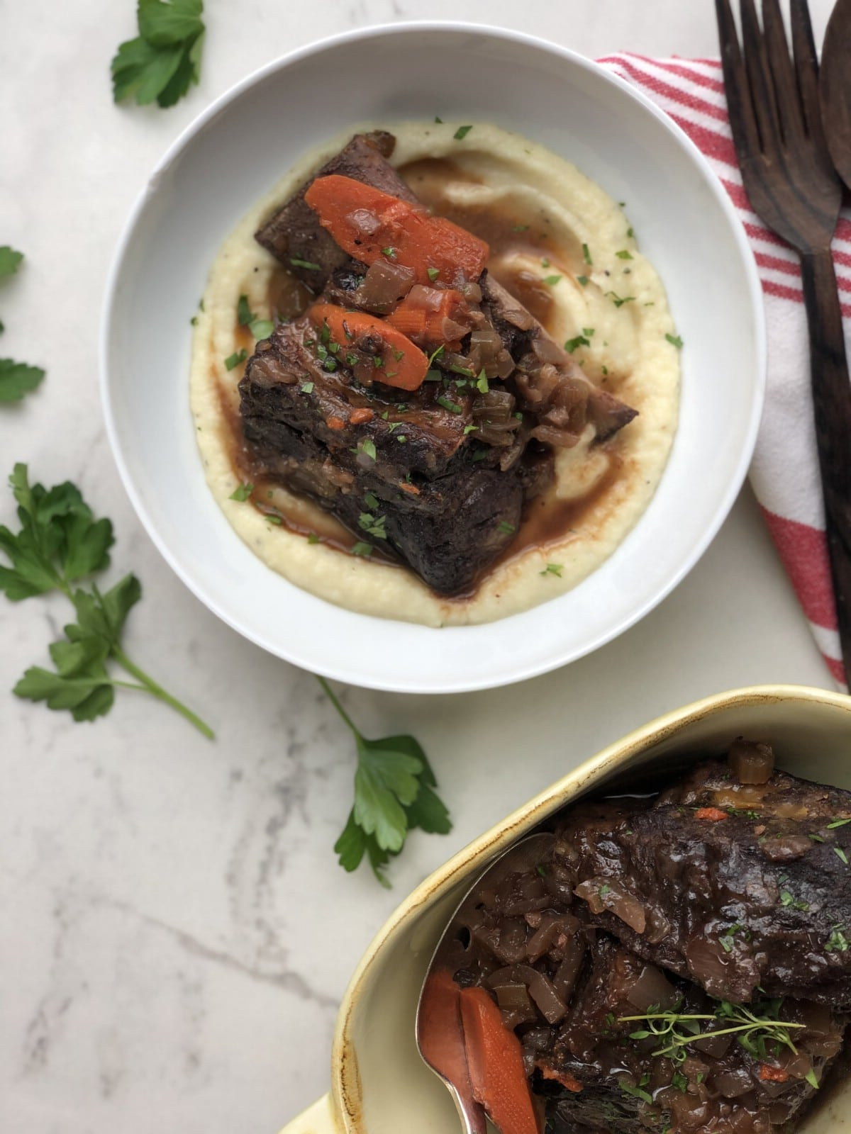 Serving dish of braised short ribs