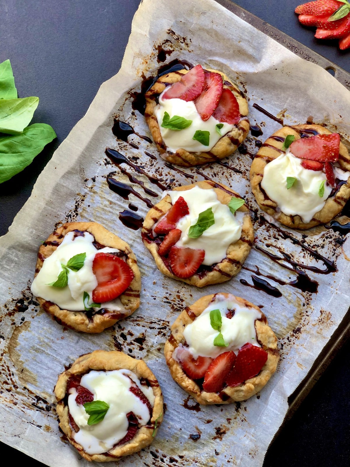 Strawberry balsamic galettes on serving platter