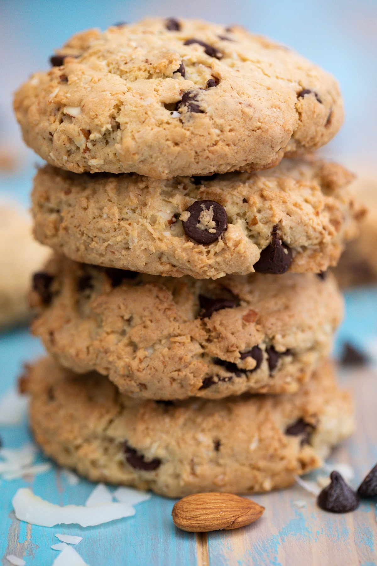 Stack of almond joy cookies on table