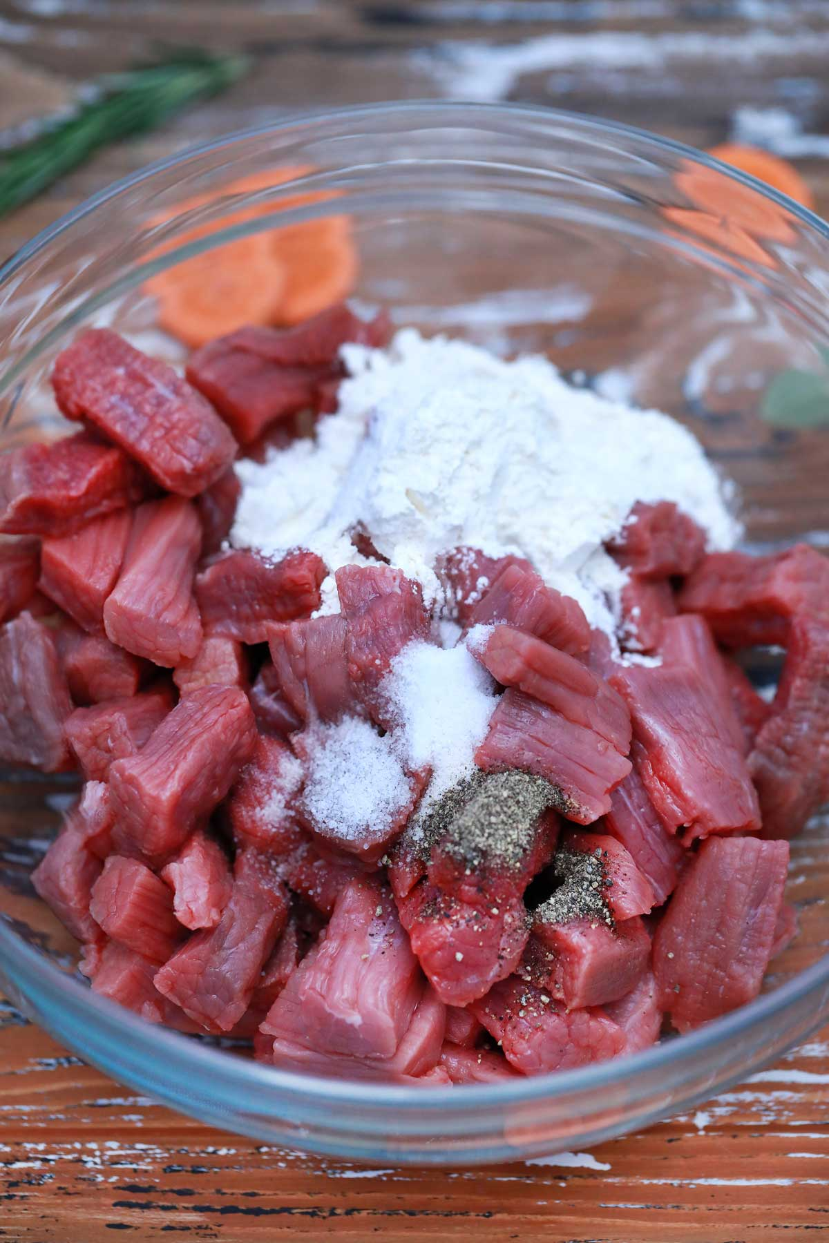Beef pieces tossed with flour
