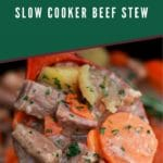 ooden spoon of beef stew