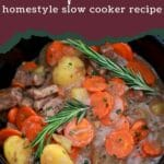 Cooked stew in slow cooker