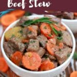 White bowl of beef stew