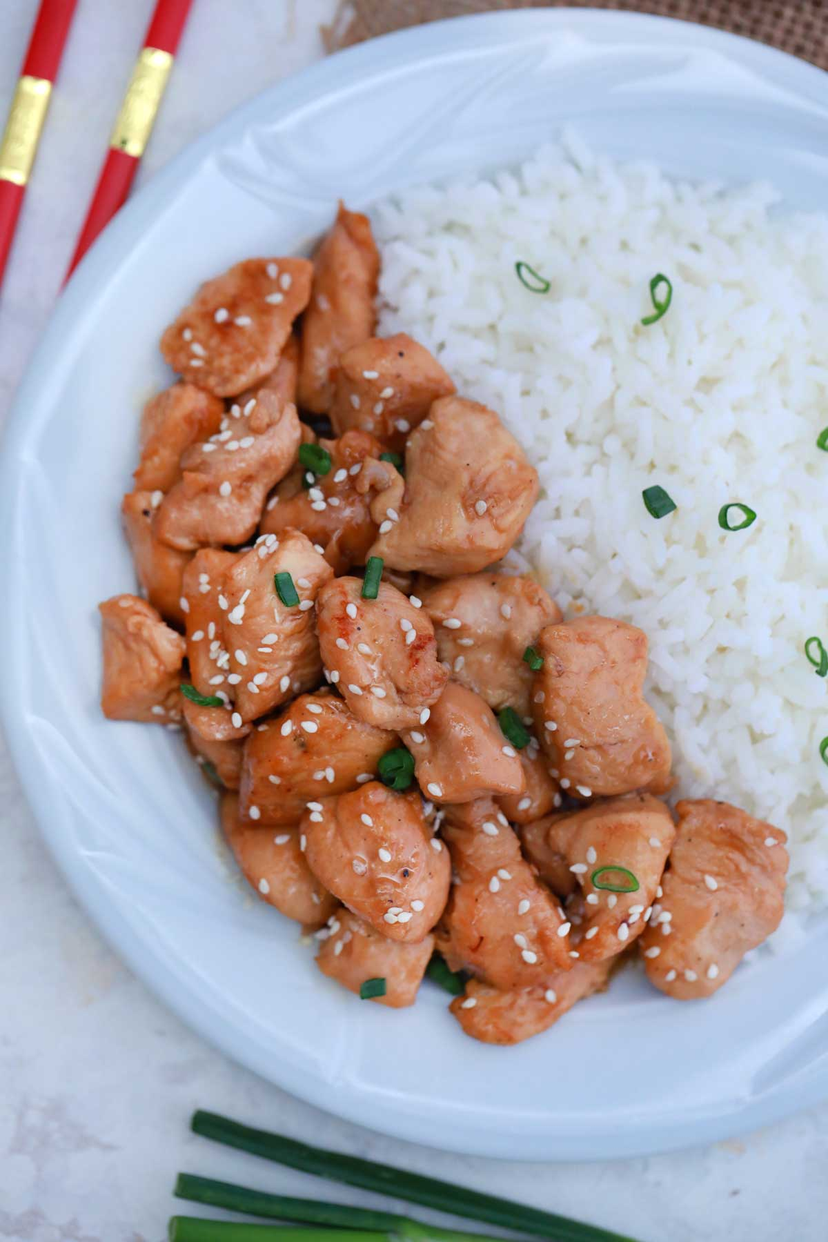 Bourbon chicken on white plate