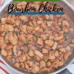 Bourbon chicken in a skillet