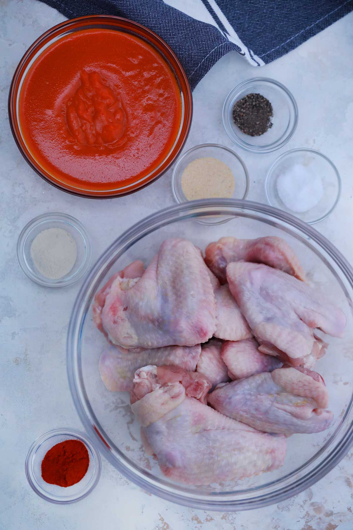 Ingredients for buffalo chicken wings