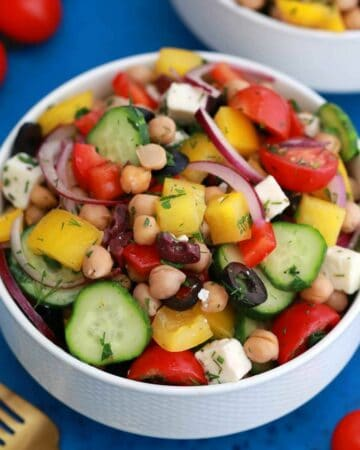 Chickepea salad in white bowl