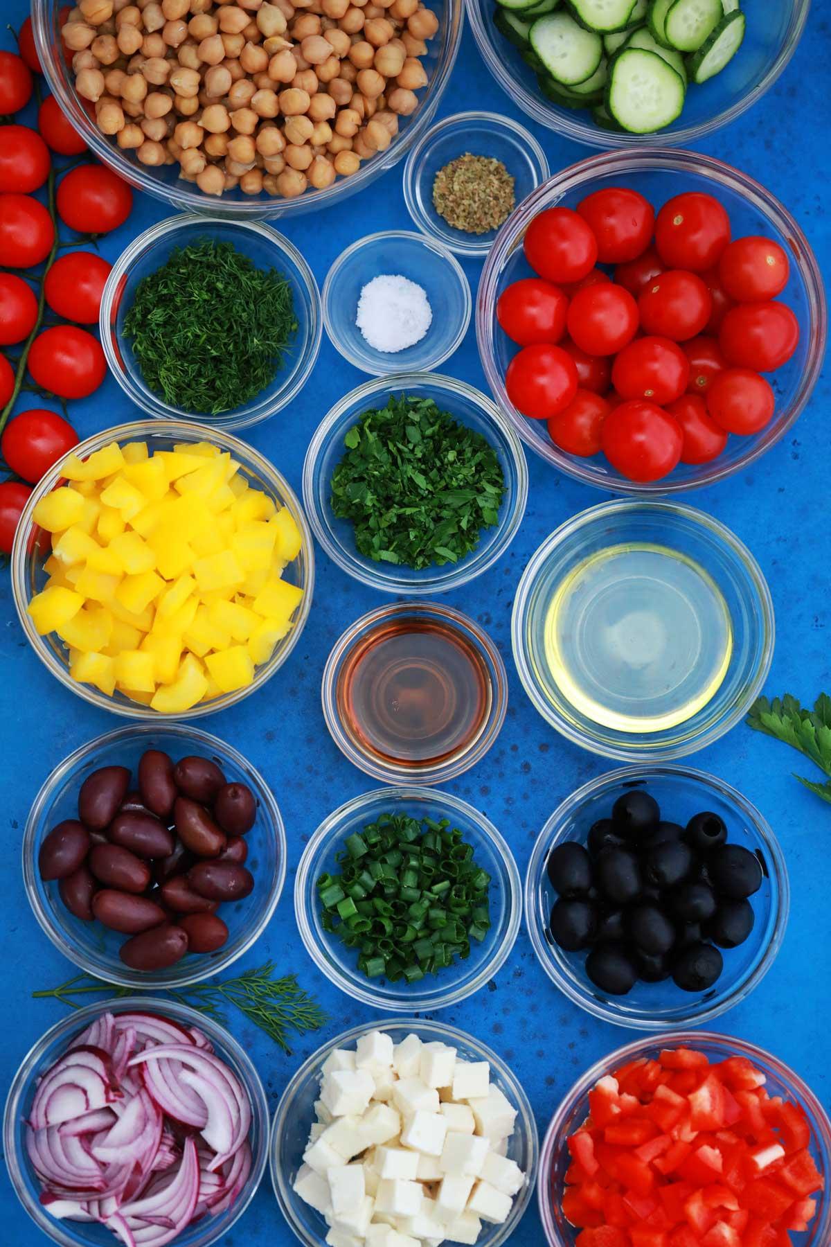 Ingredients for Greek chickpea salad