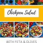 Greek chickpea salad collage