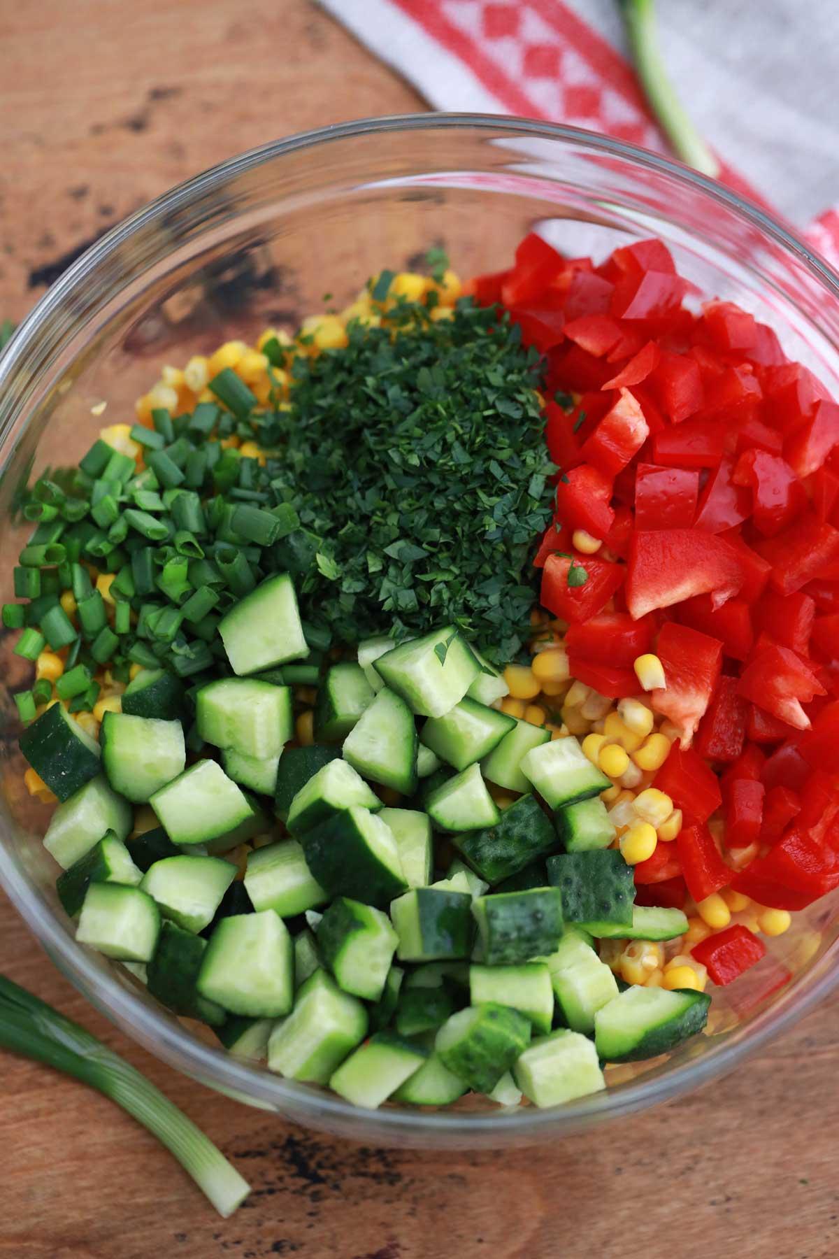 Glass bowl of vegetables