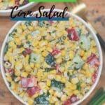 White bowl of corn salad