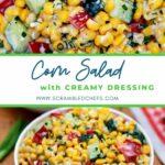 Creamy corn salad collage