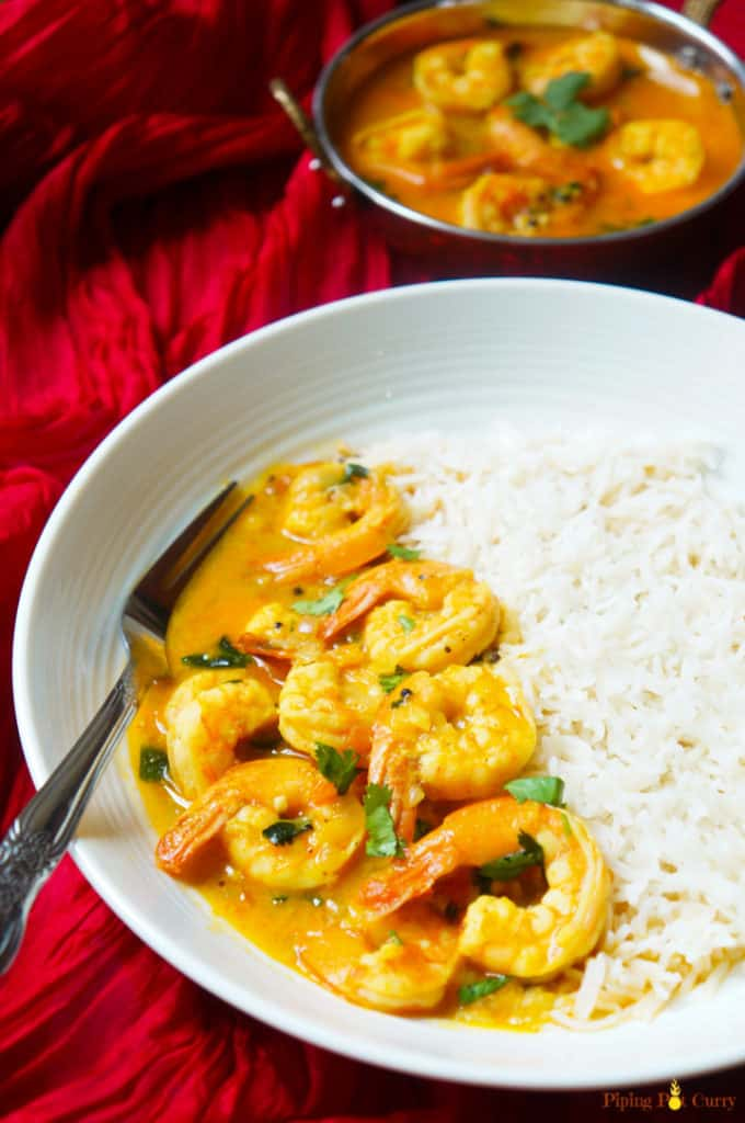Shrimp curry in white bowl