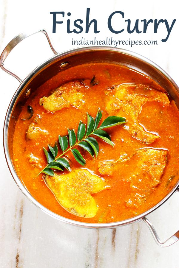 Fish curry in silver bowl
