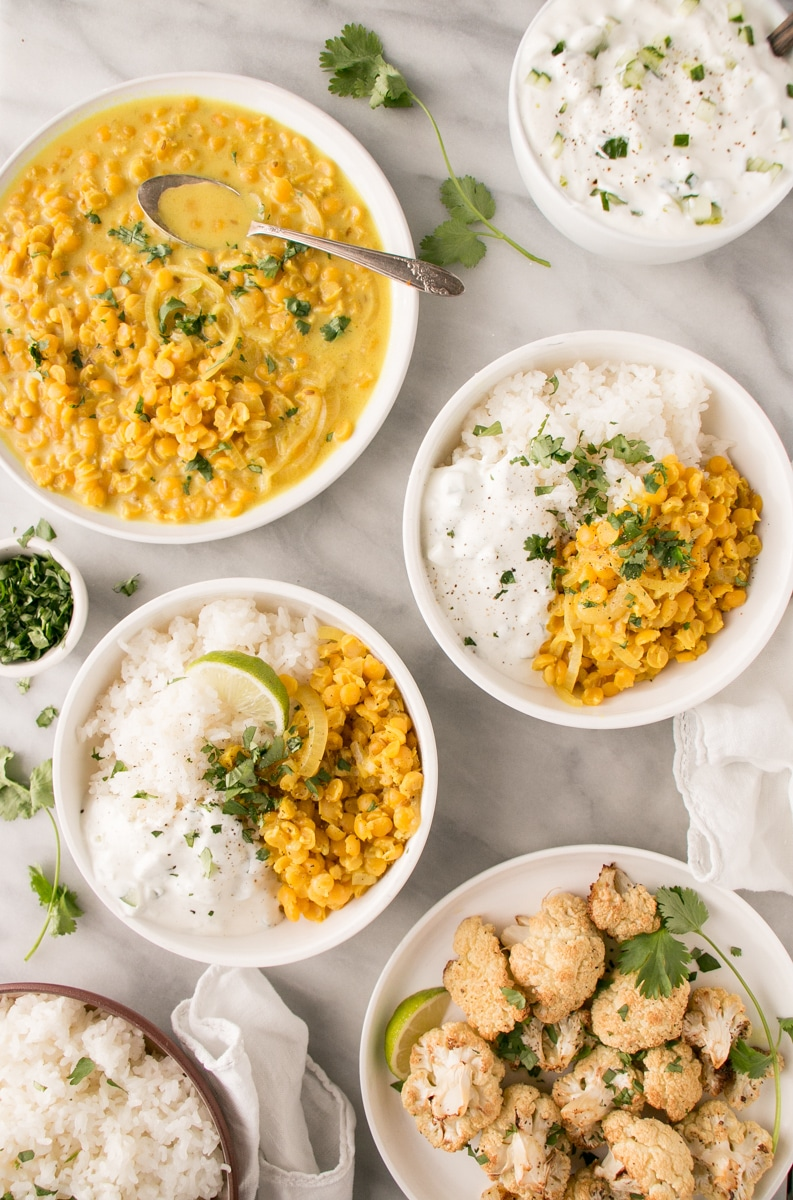 Yellow dal in bowl with rice