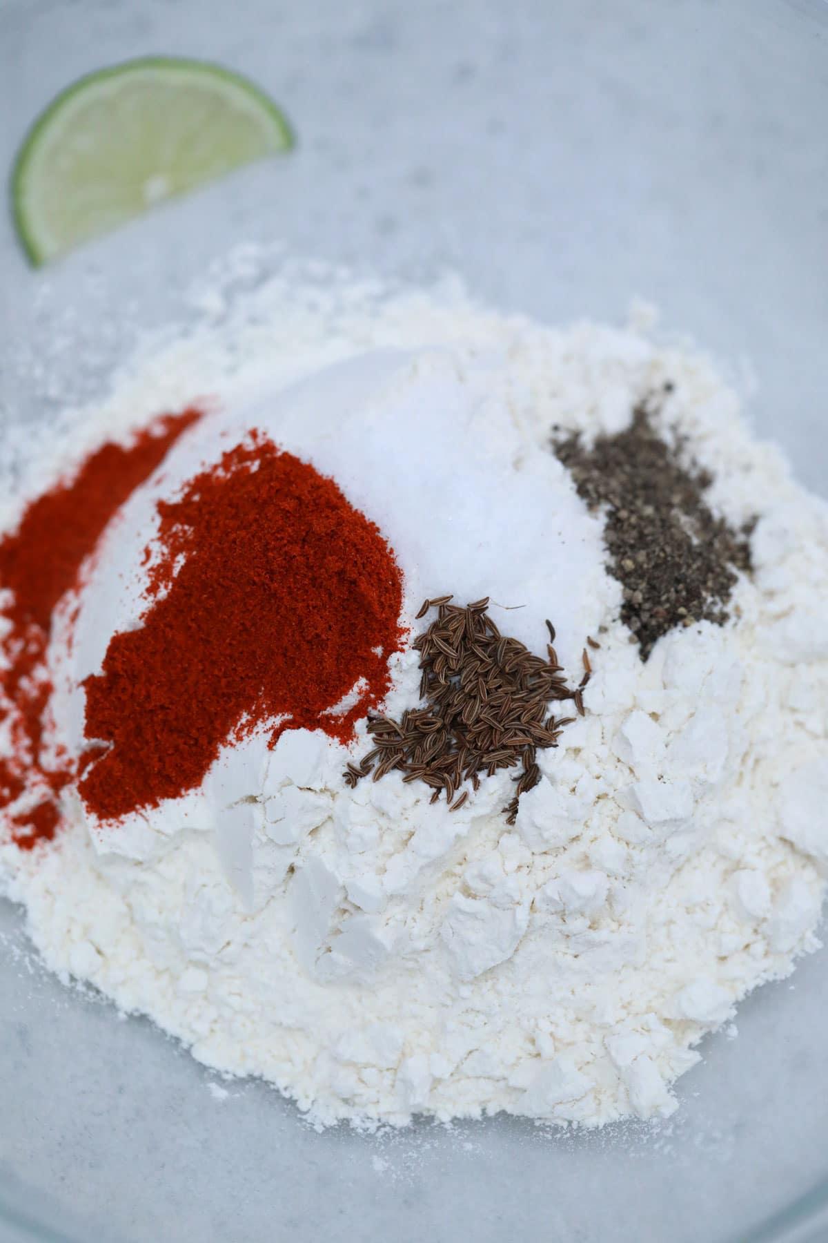 Tempura batter dry ingredients in bowl