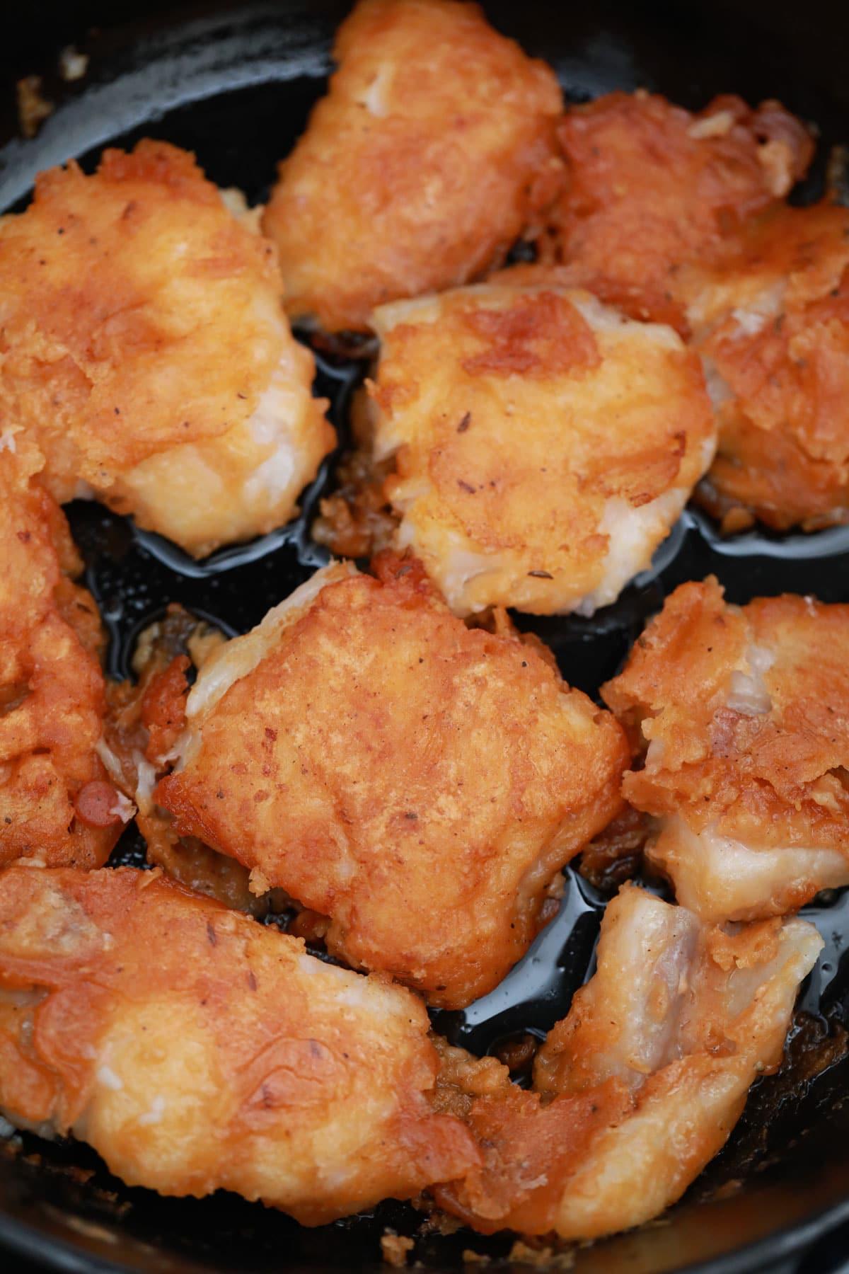 Mahi Mahi filets in cast iron skillet