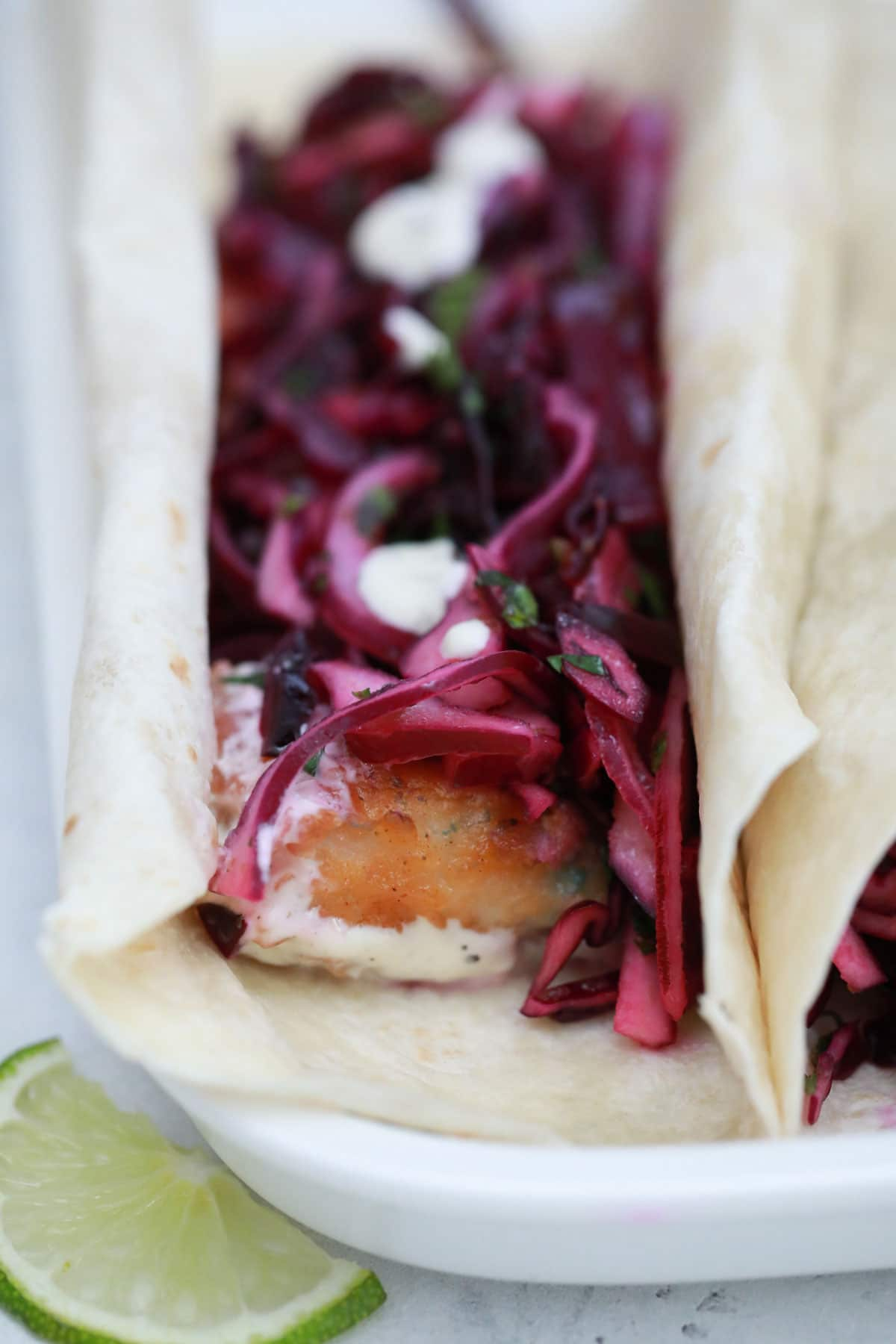 crispy mahi mahi tacos with red cabbage slaw  scrambled chefs