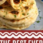 Naan rolled on top of stack